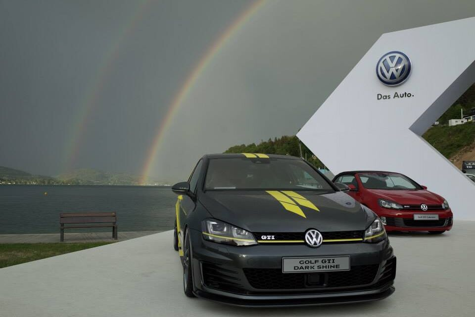 vw volkswagen golf gti dark shine regenbogen